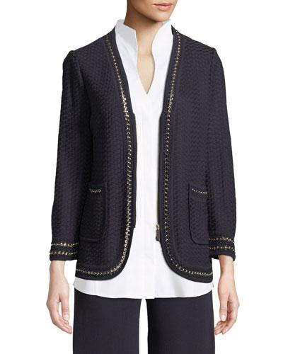 Chain-Detail Knit Jacket
