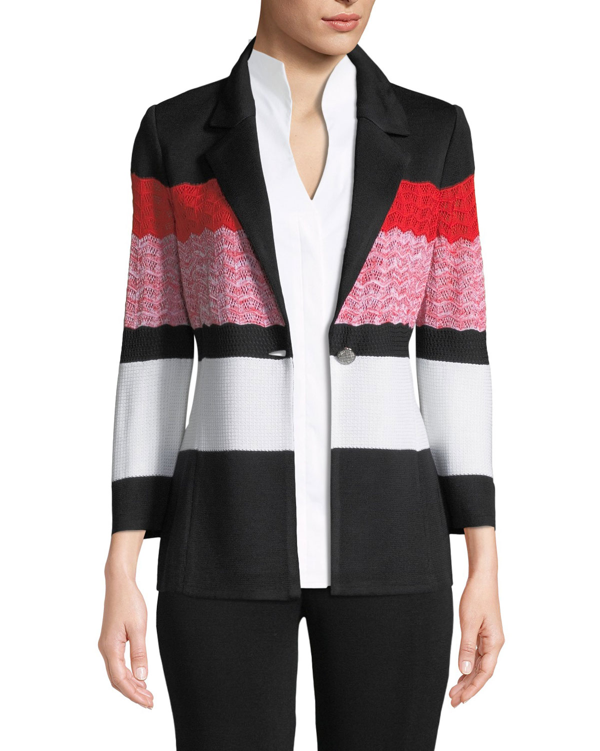 b5ab5085a08 Misook Block-Striped One-Button Jacket