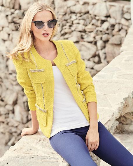 Tweed Jacket with Pearl Trim