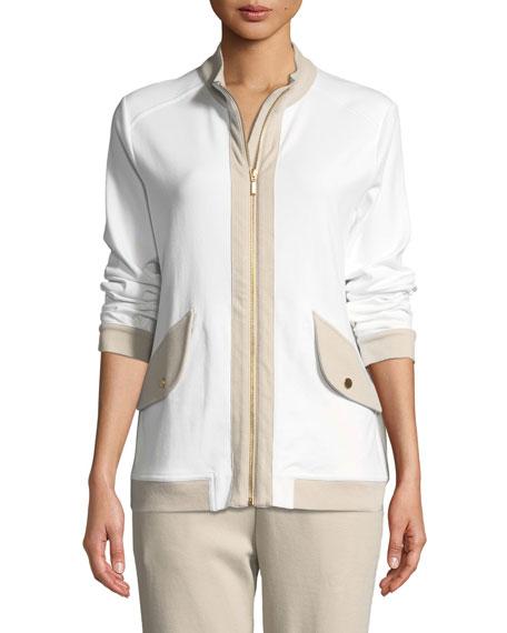 Joan Vass Petite Contrast-Trim Zip-Front Pique Jacket
