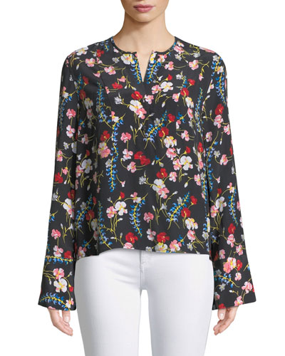 Heather Flare-Sleeve Floral Silk Blouse