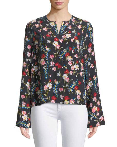 Heather Flare-Sleeve Floral Silk Blouse