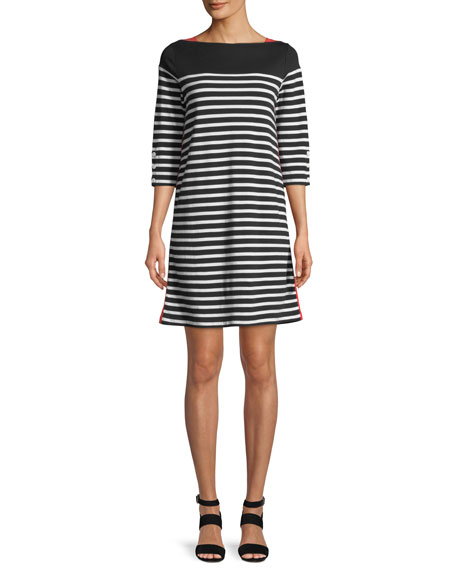 Joan Vass Colorblock Striped 3/4-Sleeve Dress, Petite