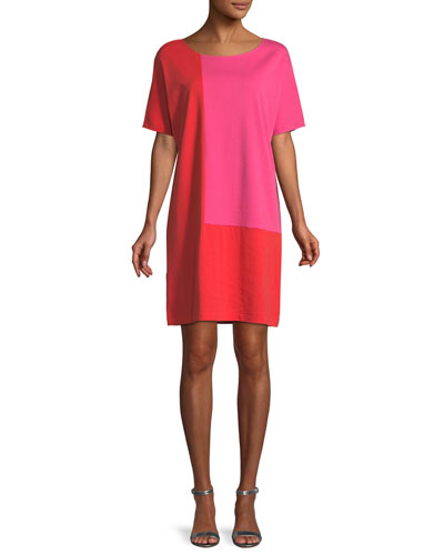Short-Sleeve Colorblock Dress, Petite