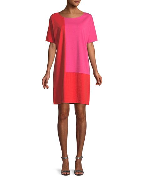 Plus Size Short-Sleeve Colorblock Dress