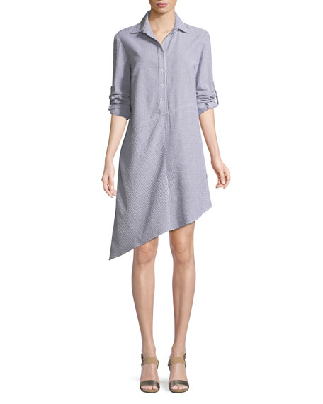 Collared Striped Seersucker Asymmetric Shirtdress