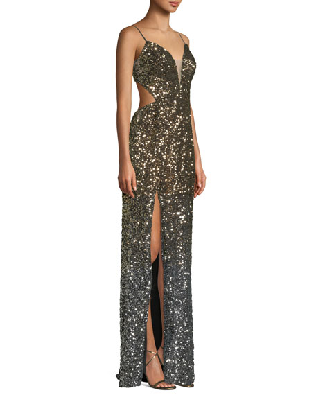 Ombre 3D Sequin High-Slit Gown