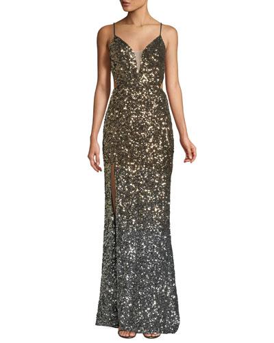 Ombré 3D Sequin High-Slit Gown