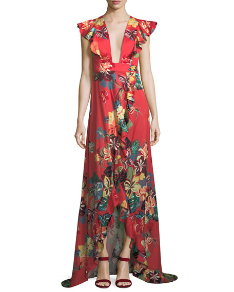Jana Floral-Print Cotton High-Low Maxi Wrap Dress