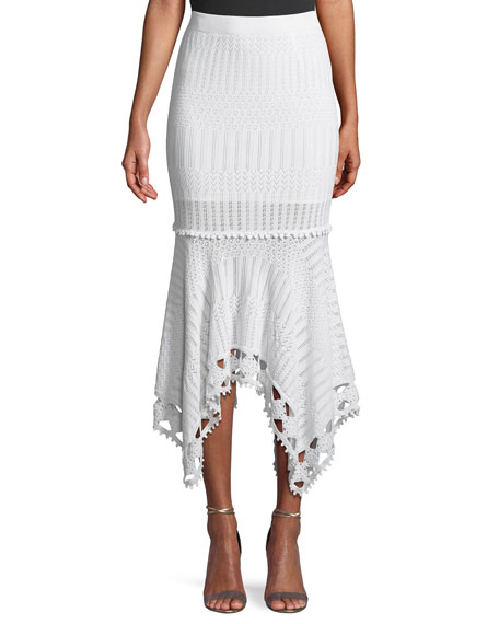 Lacy Cotton Crochet Midi Skirt