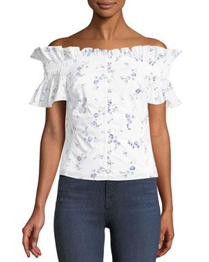 0c80c3e323 Rebecca Taylor Francine Floral Off-the-Shoulder Button-Front Top