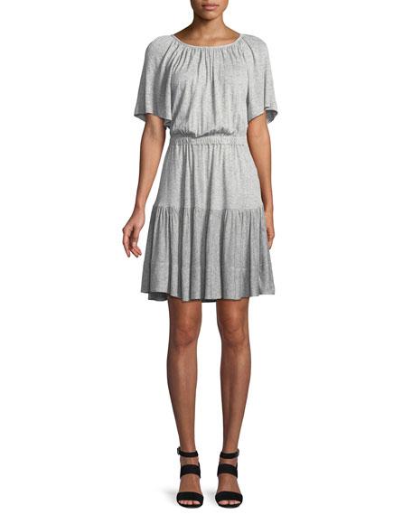 Rebecca Taylor Short-Sleeve Cutout-Back Jersey Dress
