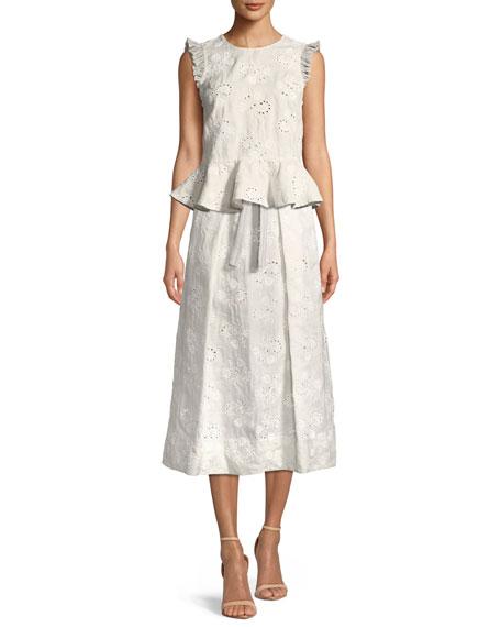 Magic Garden High-Waist Eyelet Midi Skirt