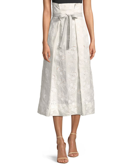 Rebecca Taylor Magic Garden High-Waist Eyelet Midi Skirt