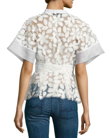 Danelle Floral-Embroidered Short-Sleeve Top