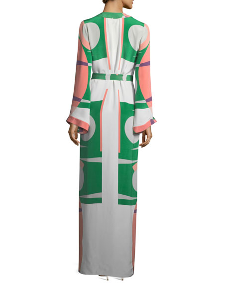 Vidal Printed Long-Sleeve Self-Tie Caftan Dress