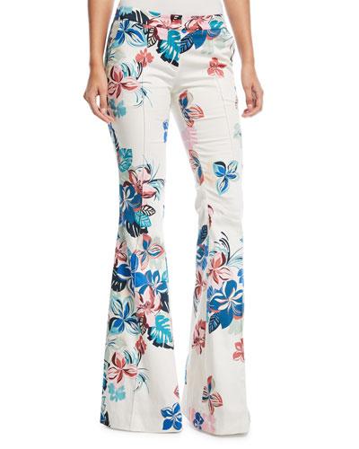 Kamilla Floral-Print Flare-Leg Pants