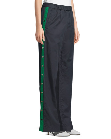 Poplin Side-Snap Wide-Leg Pants
