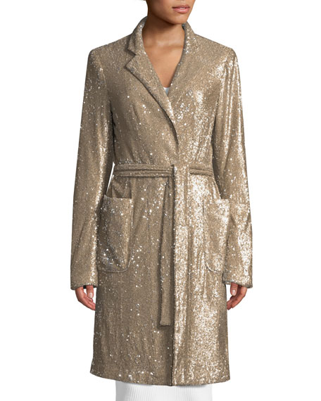 Close Up Long-Sleeve Sequin Coat