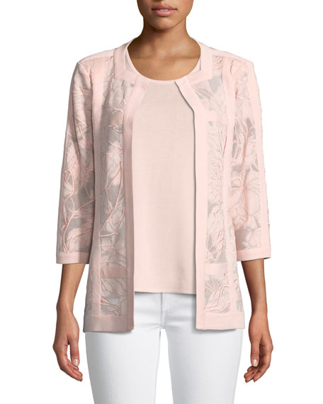 Tonal Floral Embroidered Jacket, Plus Size
