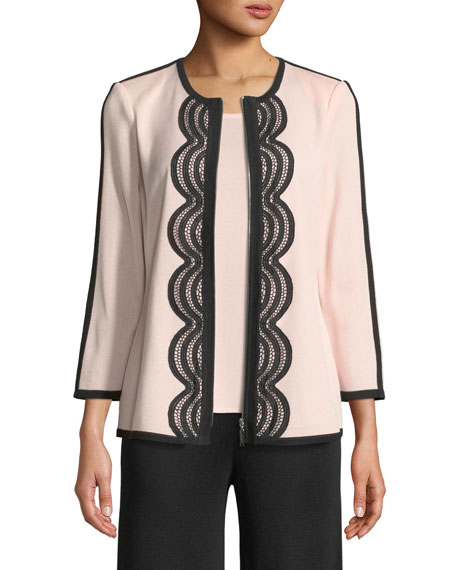 Contrast Lace-Trim Zip-Front Jacket, Plus Size