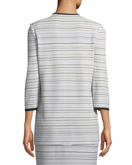 Neutral Striped Topper Jacket, Plus Size
