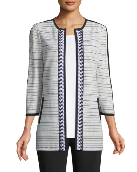 Neutral Striped Topper Jacket, Plus Size