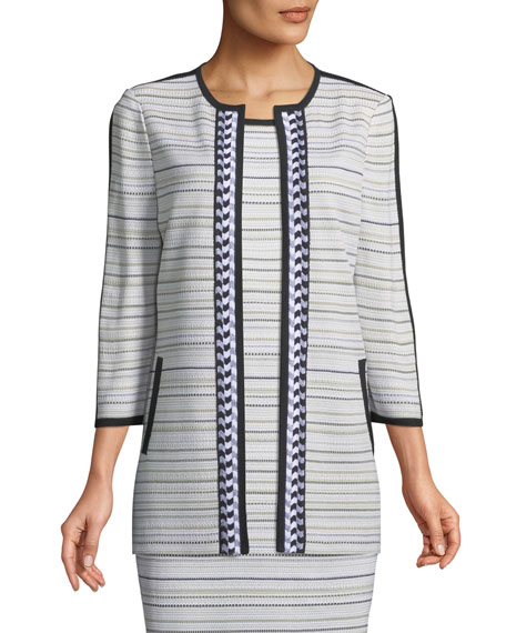 Misook Neutral Striped Topper Jacket, Plus Size and