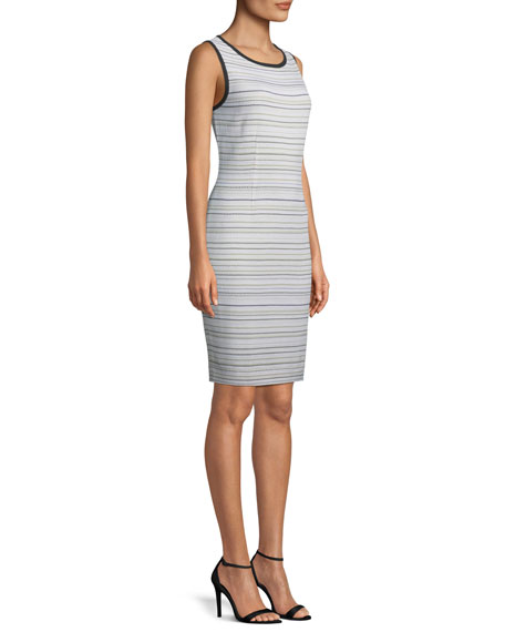Neutral Striped Sleeveless Sheath Dress, Plus Size