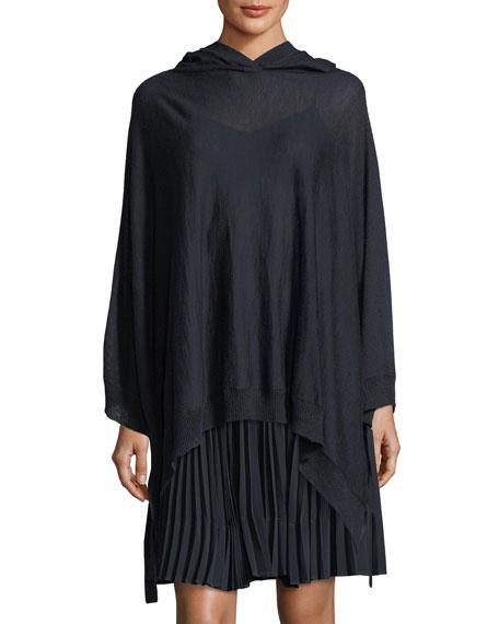 Wool-Cashmere Blend Poncho w/ Hood