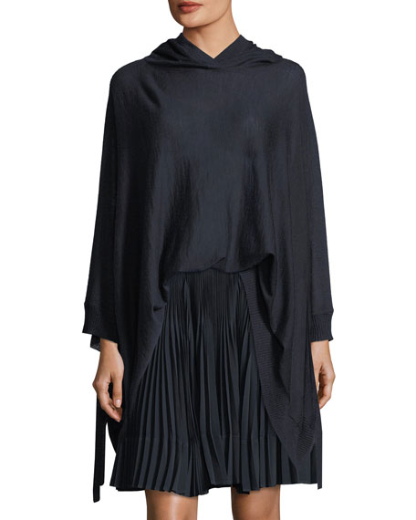 Vince Wool-Cashmere Blend Poncho w/ Hood