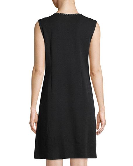 Sleeveless Stud-Trim A-line Dress , Plus Size