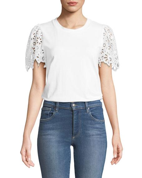 Eyelet Short-Sleeve Crewneck Cotton Jersey Top