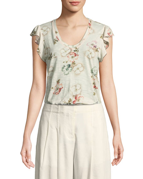 Flutter-Sleeve Faded Floral Jersey Top
