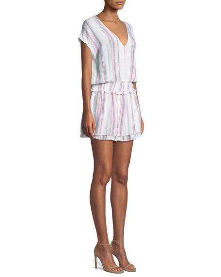 Lucca Striped Linen-Blend Mini Dress
