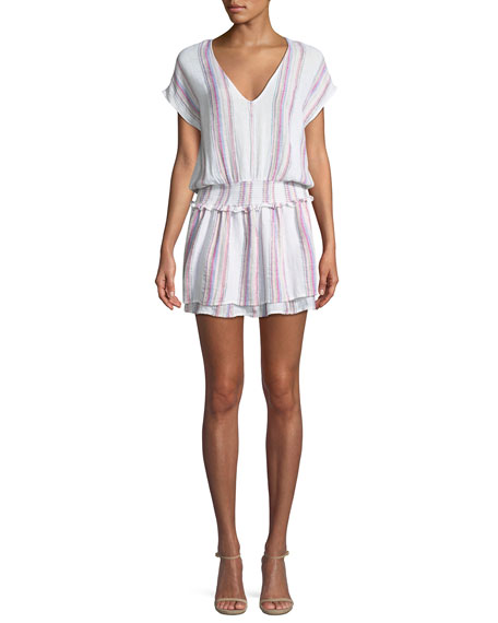Lucca Striped Linen-Blend Mini Dress
