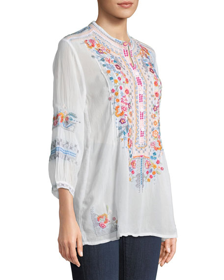 Bethanie 3/4-Sleeve Embroidered Tunic