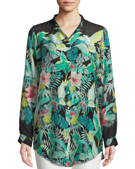 Johnny Was Solo Long-Sleeve Button-Front Tropical Blouse ,