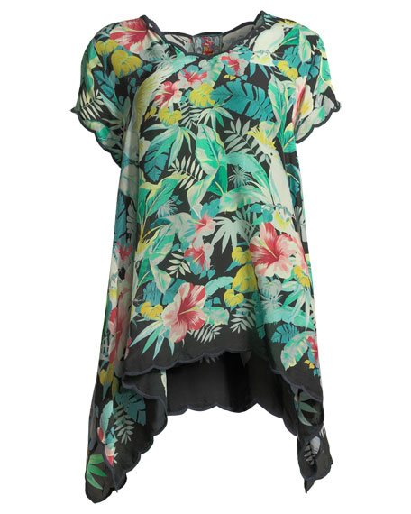 Plaid Dress Tropical-Print Top, Plus Size