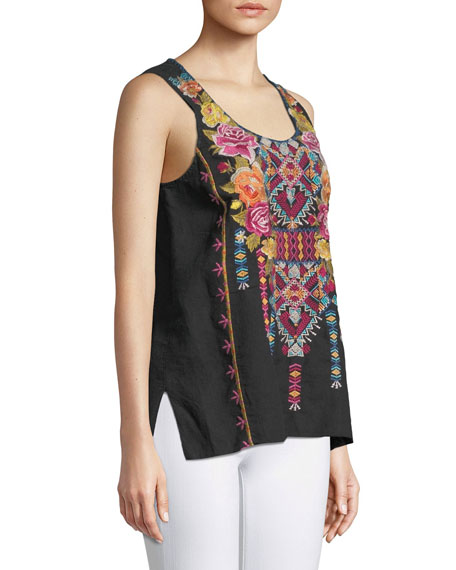 Vella Embroidered Tank, Plus Size