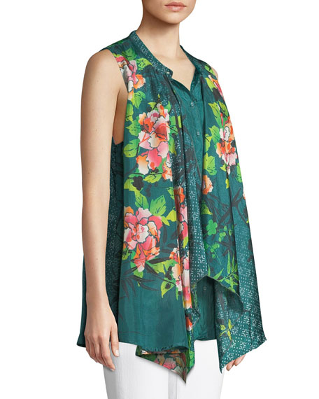 Zen Drapey Sleeveless Silk Blouse, Plus Size