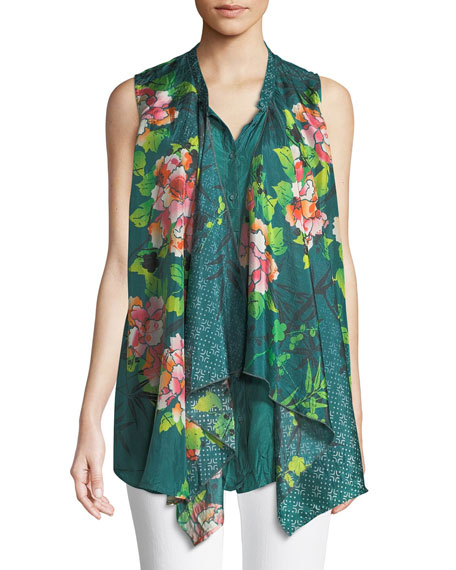 Johnny Was Zen Drapey Sleeveless Silk Blouse, Plus