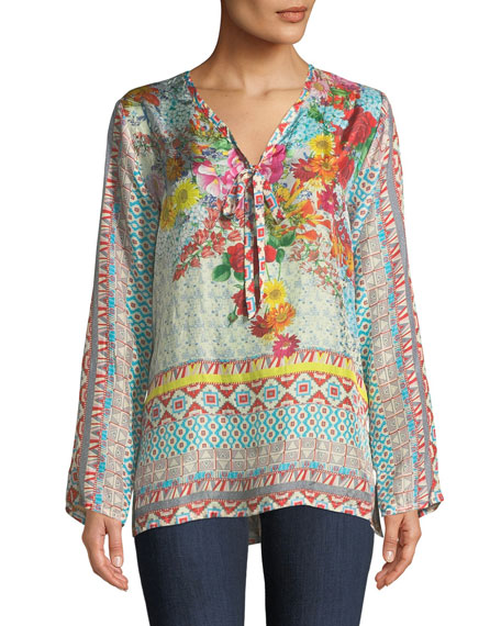 Johnny Was Chloris Floral Georgette Blouse, Plus Size