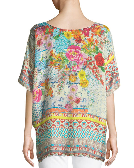 Luana Short-Sleeve Printed Tunic , Plus Size