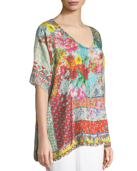 Johnny Was Luana Short-Sleeve Printed Tunic , Plus