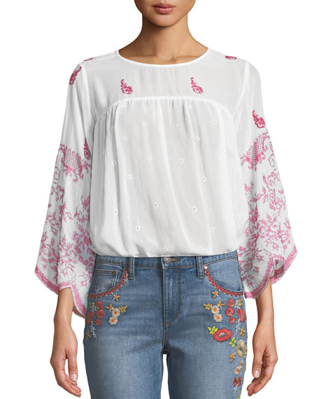 Rose-Stitch Georgette Blouse with Drama Sleeves