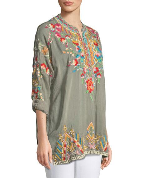 Jessa Embroidered Georgette Tunic, Plus Size