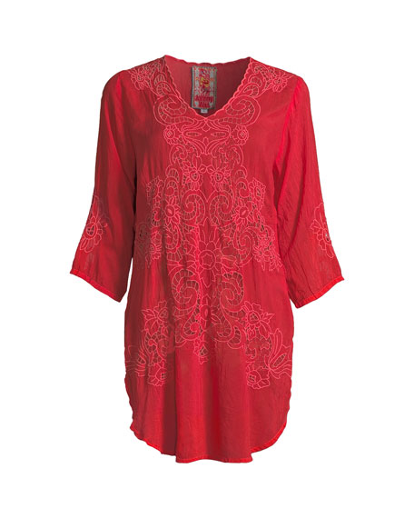 Arlene Eyelet Applique Top, Plus Size