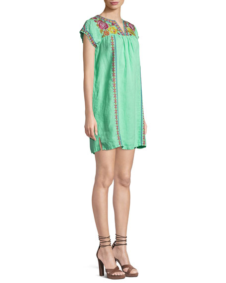 Vella V-Neck Embroidered Shift Dress, Plus Size