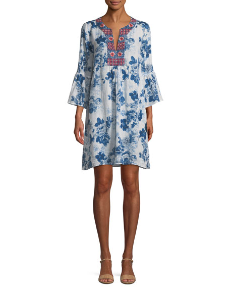Flare-Sleeve Floral-Print Tunic, Plus Size